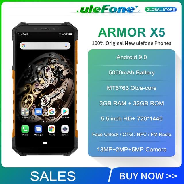 Osłona Ulefone X5 Smartphone MT6763 Octa core IP68 wodoodporna Android 9 odblokowanie twarzą 3GB 32GB OTG NFC 4G LTE wersja globalna telefon