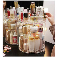 Fashion 360 Degrees Rotating Cosmetic Crystal Makeup Organizer Storage Box Shelf Display Transparent Cosmetic Storage 2019 Hot