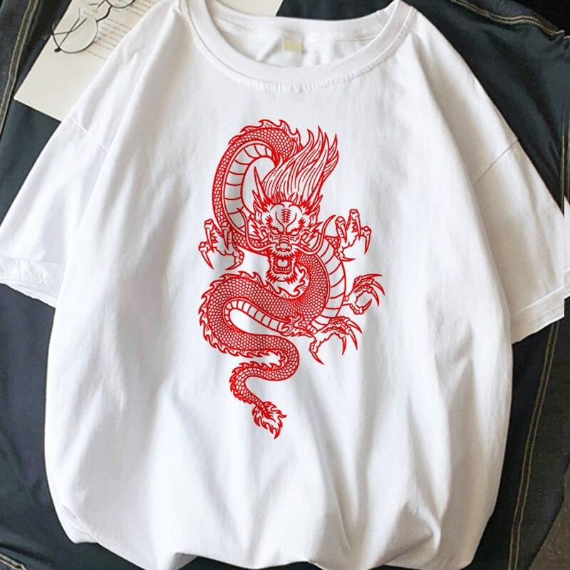Summer New Women's T-shirt Streetwear Tops Ulzzang Harajuku Vintage Chinese Dragon Print Women Tshirts Oversize Loose Casual