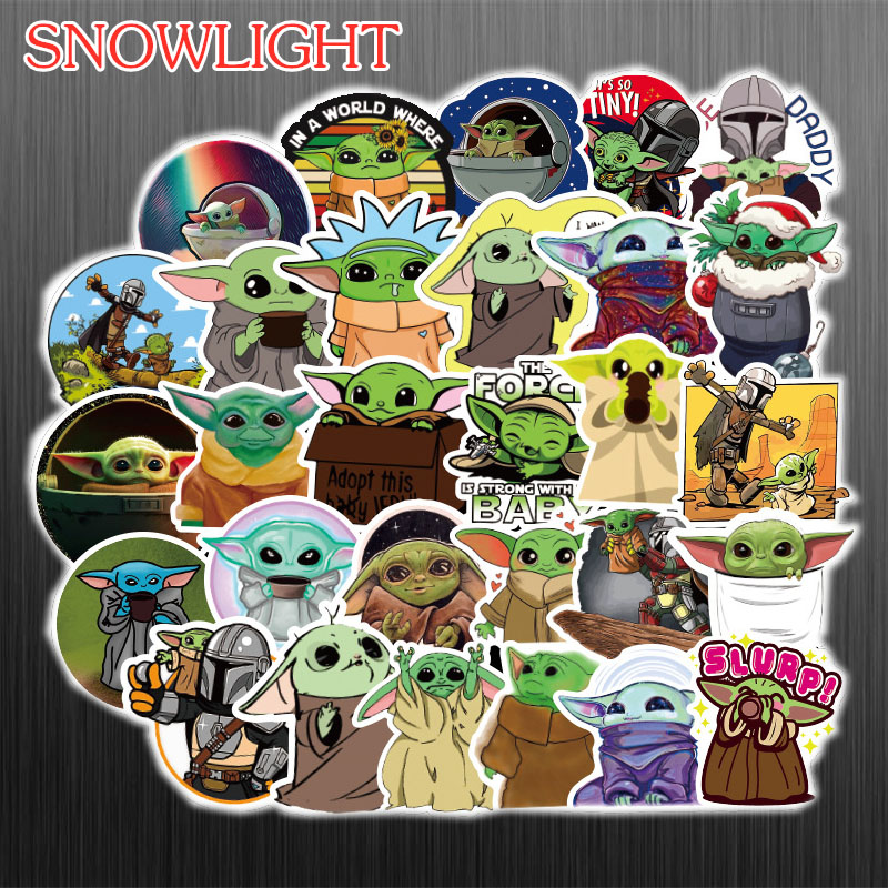 HOT 50PCS /PACK Baby Yoda Star Wars The Mandalorian Stickers For Laptop Skateboard Home Decoration Car Scooter Decal