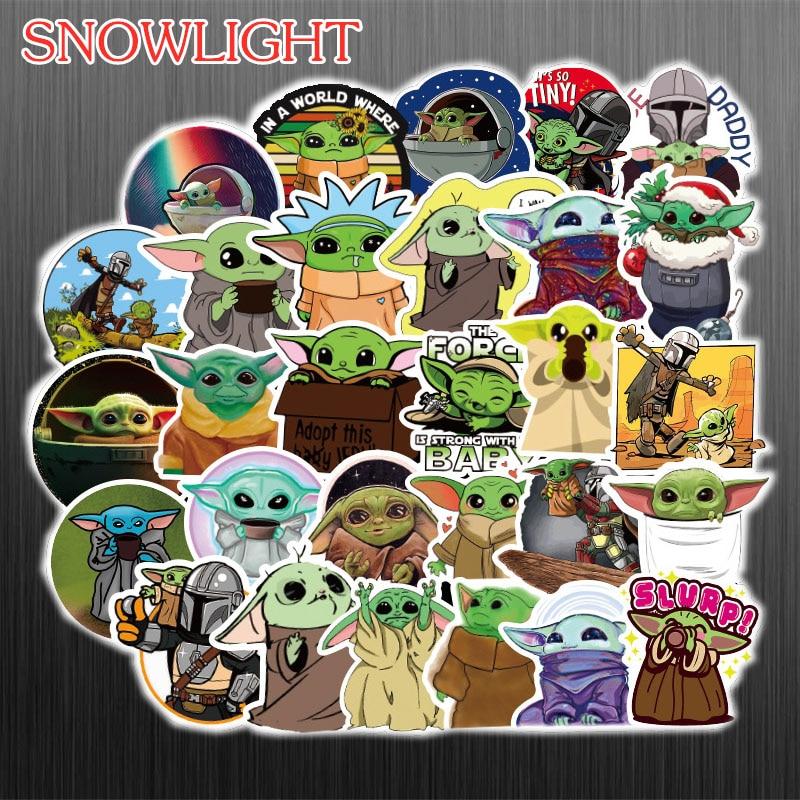 50PCS  Baby Yoda The Mandalorian Vinyl Cartoon Stickers Laptop Skateboard  Decal