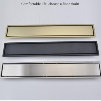 Brush Gold Floor Drain 304 SUS Floor Conceal Drain Long Linear Drainage Channel Drain For Hotel Bathroom Kitchen Floor Black