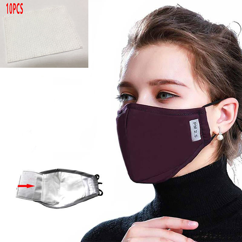 11pcs Cotton PM2.5 Black Mouth Mask Anti Dust Mask Activated Carbon Filter Windproof Mouth-muffle Bacteria Proof Flu Face Masks