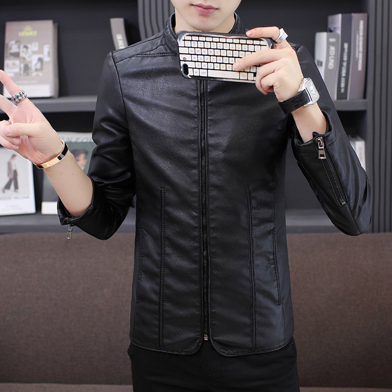 Winter Men New Style Leather Coat Korean-style Trend Youth Casual Leather Jacket Men's PU Leather Stand Collar Slim Fit MEN'S Ou