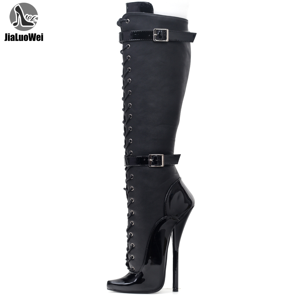 JIALUOWEI Exotic Extreme Fetish lace Up7 inch steel heel PATA ballet knee high boots size 5-15
