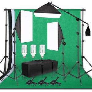 Image 1 - Support de cadre de fond de photographie Kit déclairage Softbox accessoires déquipement de Studio Photo avec toile de fond 3 pièces et trépied