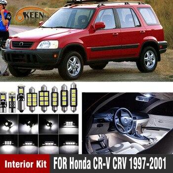 цена на Okeen 8Pcs No Error Canbus White LED For Honda CR-V CRV 1997-2001 Car Interior Light Bulbs Package Kit Map Dome Lamp