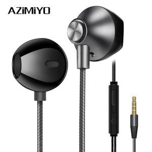Image 1 - AZiMiYO المعادن سماعات أذن باص مريحة في الأذن إلغاء الضوضاء سماعات 3.5 مللي متر ميكروفون مرحبا الدقة الصوت نصف في الأذن سماعة