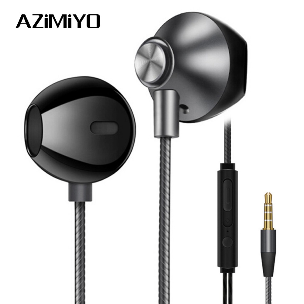 AZiMiYO Metal Bass Earphones Comfortable In-Ear Noise Cancelling Earbuds 3.5 Mm Microphone Hi-Res Audio Half In-Ear Earphone