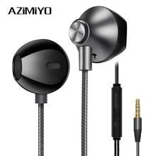 AZiMiYO Metal bass Earphones Comfortable In Ear Noise Cancelling earbuds 3.5 mm Microphone Hi Res Audio Half In Ear earphone