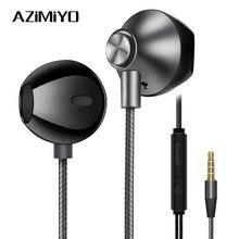 AZiMiYO auriculares metálicos de graves, cómodos auriculares internos con cancelación de ruido, micrófono de 3,5mm, Audio de alta resolución, auricular de media oreja