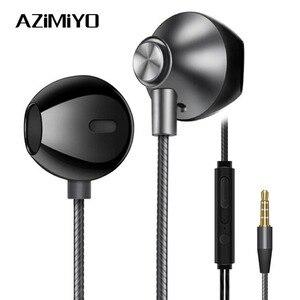 Image 1 - AZiMiYO auriculares metálicos de graves, cómodos auriculares internos con cancelación de ruido, micrófono de 3,5mm, Audio de alta resolución, auricular de media oreja