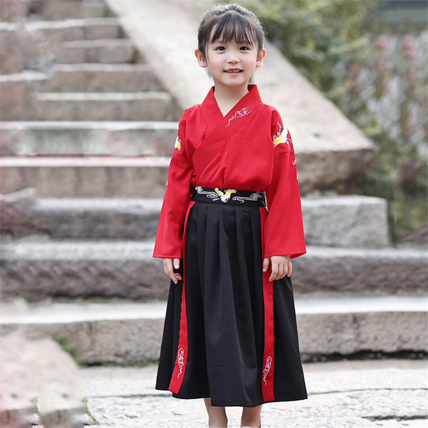 Children Japanese Traditional Kimono Baby Boy Samurai Cosplay Costume Embroidery Crane Haori Baby Girl Dress Yukata Japan Party