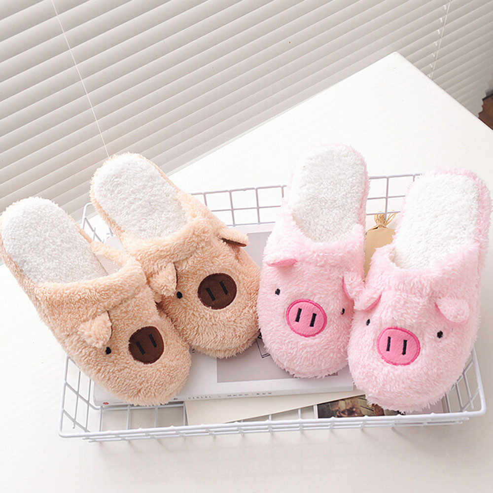 Winter huishoudelijke slippers varken vorm slippers vrouwen slippers designer slippers huisvloer zachte gestreepte slippers vrouwen schoenen @ py