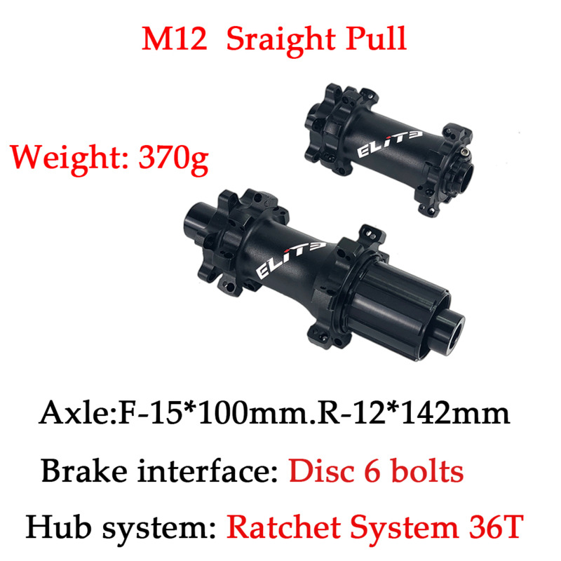 ELITE 6-bolt Lock Hub M12 Ratchet System 36T Sraight Pull Hub Front 15*100mm QR*100mm Rear 12*142mm QR*135mm For MTB Bike image