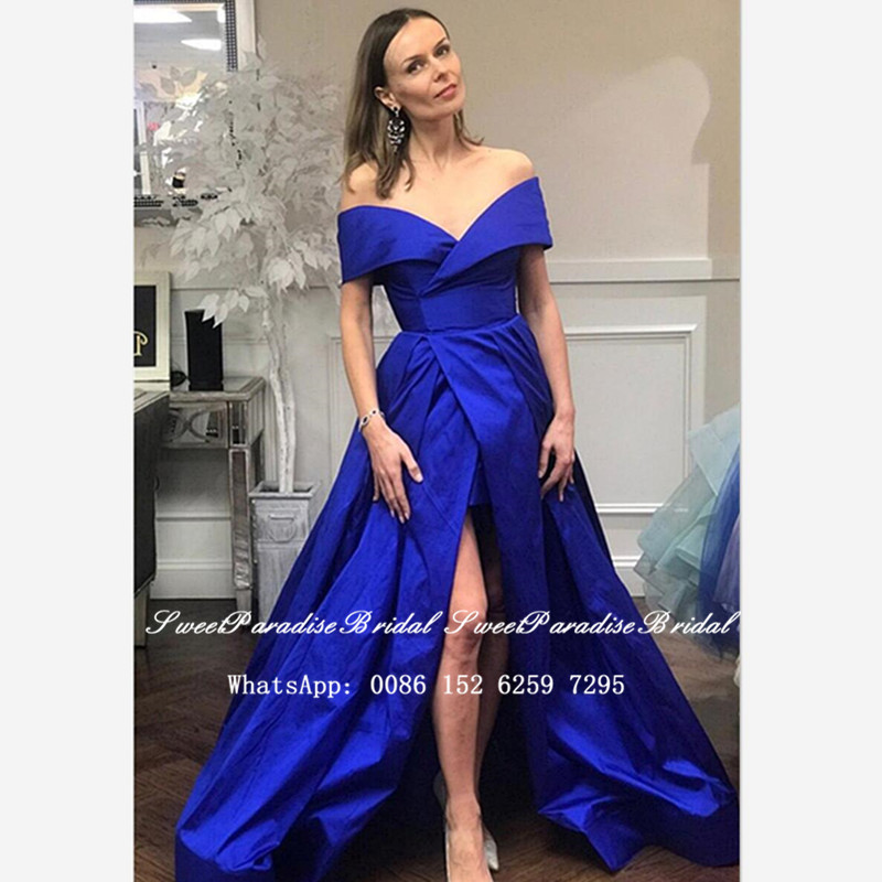 Royal Blue Satin Bridesmaid Dresses Sexy Side Split Off Shoulder A Line Vestidos Long Wedding Dress Party For Women