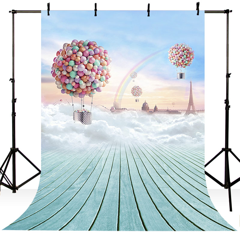 Customized Vinyl Photography Background Cartoon Blue Sky Balloons Rainbow Dreamland Children Backdrops For Photo Studio ZR-165