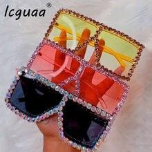 Солнцезащитные очки оверсайз с кристаллами Женские квадратные
