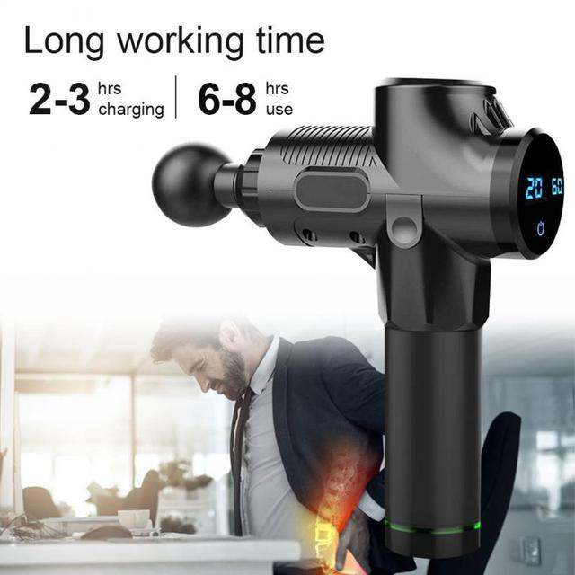 Electric Muscle Massager Therapy Fascia Massage Gun Deep Vibration Muscle Relaxation Fitness Equipment 1200-3300r/min dropship 2