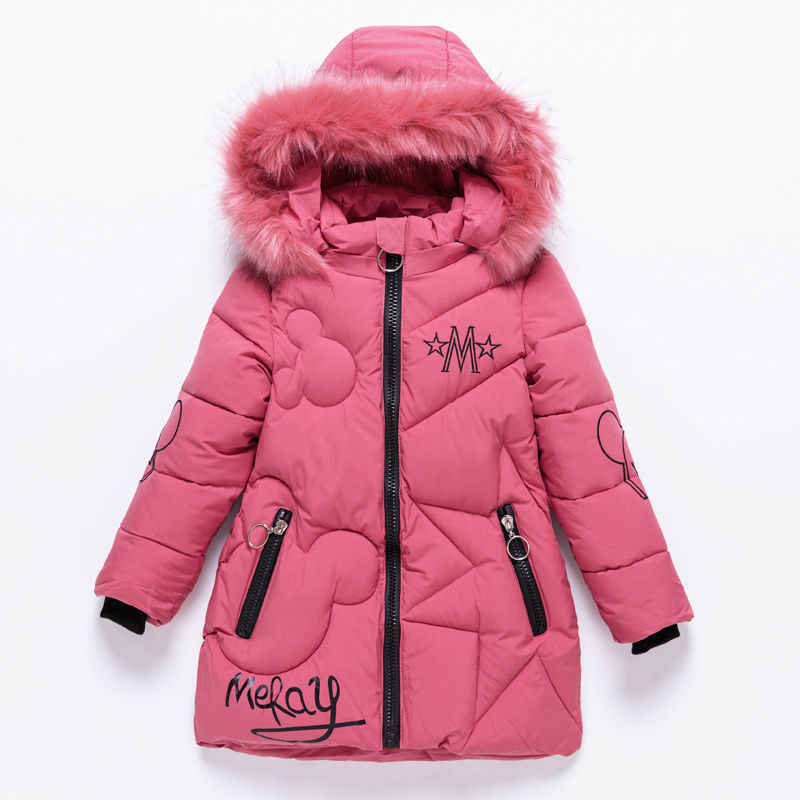 2019 Girls Down Jackets Baby Outdoor Warm Clothing Thick Coats Windproof Children's Winter Jackets Kids Cartoon Winter Outerwear