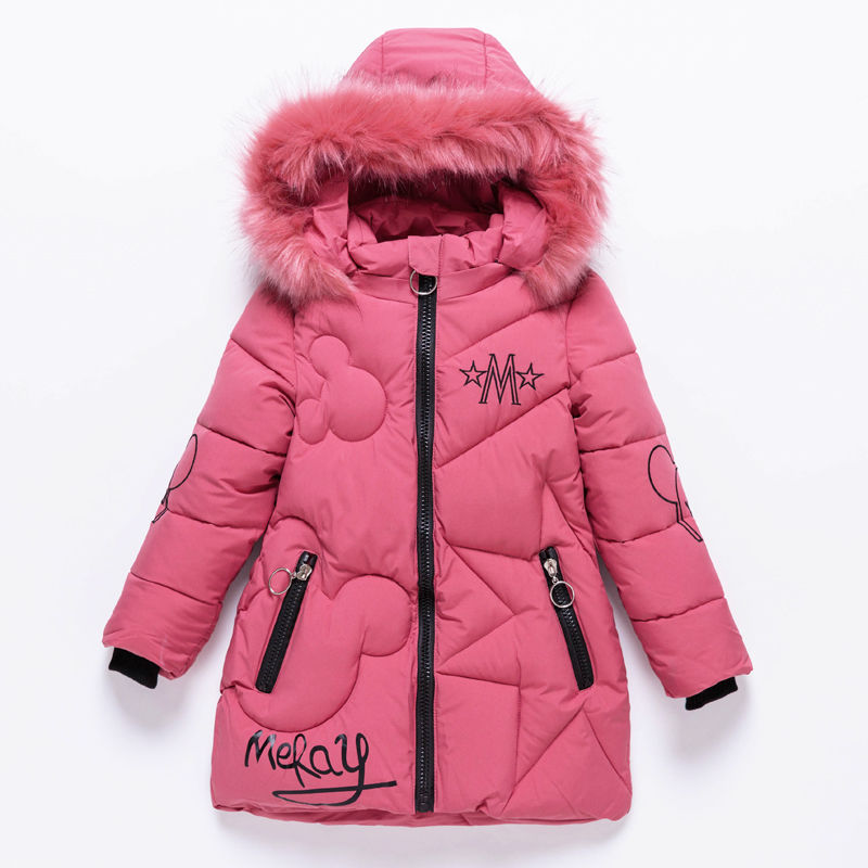 2019 Girls Down Jackets Baby Outdoor Warm Clothing Thick Coats Windproof Children's Winter Jackets Kids Cartoon Winter Outerwear-in Down & Parkas from Mother & Kids