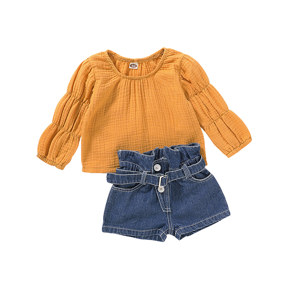Baby Cotton Linen Clothes Infant Toddler Boy Girl Long Sleeve Shirt Top Shorts Fall//Winter 2PCS Outfits Set
