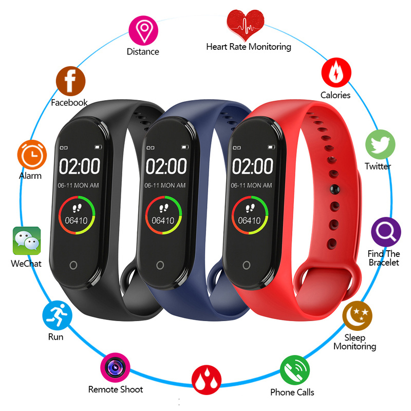 M4 Smart Bracelet Fitness Color Screen Heart Rate Blood Pressure Oxygen Monitor For Xiaomi Band 4 M4 Smart Band