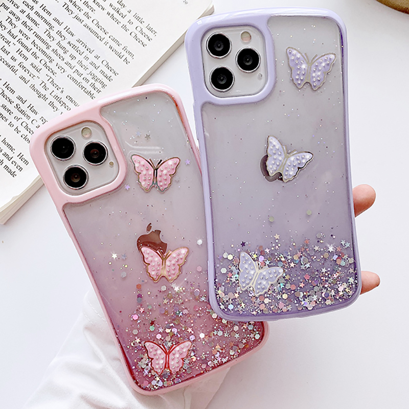 3D Butterfly Bling Glitter Star Phone Case For Iphone 12 11 Pro Max 6 6S 7 8 Plus X XS XR SE 2020 Small Waist Mobile Case Cover