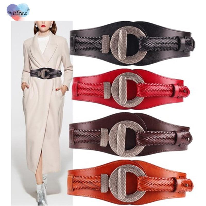 Nuleez Real Leather Obi Belt Women Corset Ladies For Coat And Dress Seasons Useful Cummerbunds Clothes Accessory Fashion Vintage