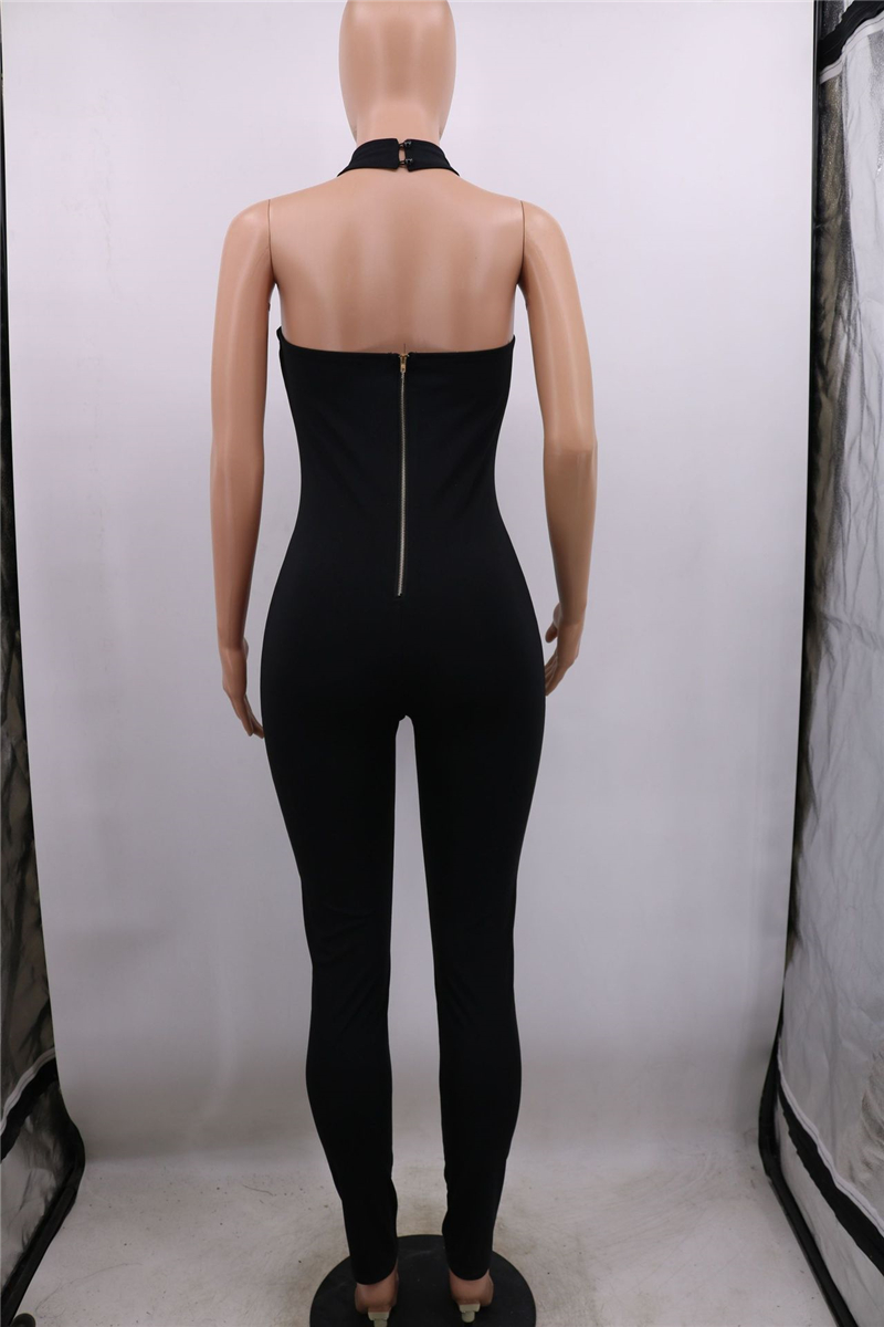 Adogirl Diamonds Tassel Halter Jumpsuit Women Sexy Strapless V Neck Bandage Romper Backless Night Club Overalls Bodysuits Pants & Capris Women Bottom ! Plus Size Women's Clothing & Accessories