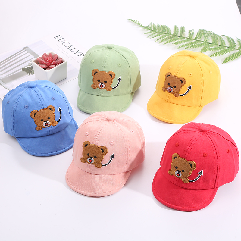H0a9b345a5b954a51bbaf1a2af4a7cdb8P - Baby Hat Cute Bear Embroidered Kids Girl Boy Caps Cotton Adjustable Newborn Baseball Cap Infant Toddler Beach Outdoor Sun Hat