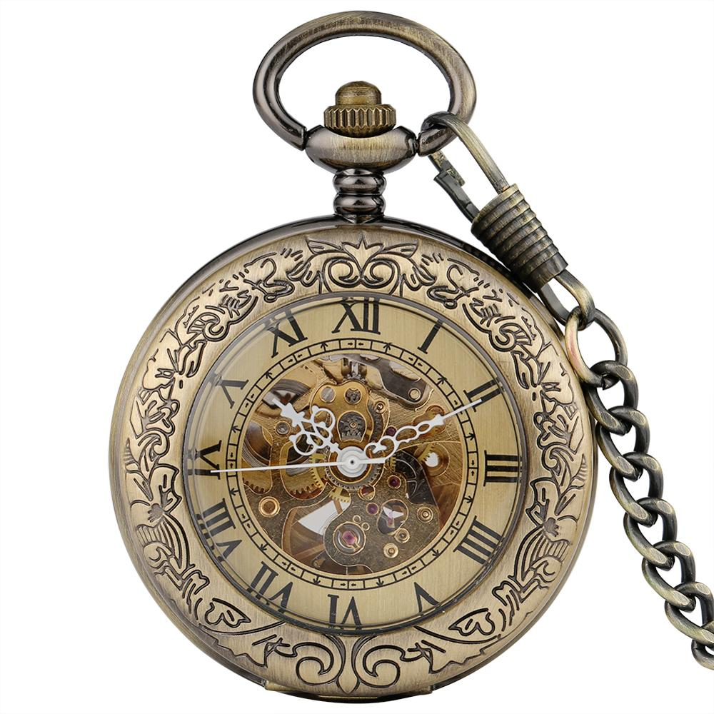 Antique Bronze Transparent Design Mechanical Automatic Self-wind Pocket Watch Men Women Fob Watch Gifts With Pocket Chain