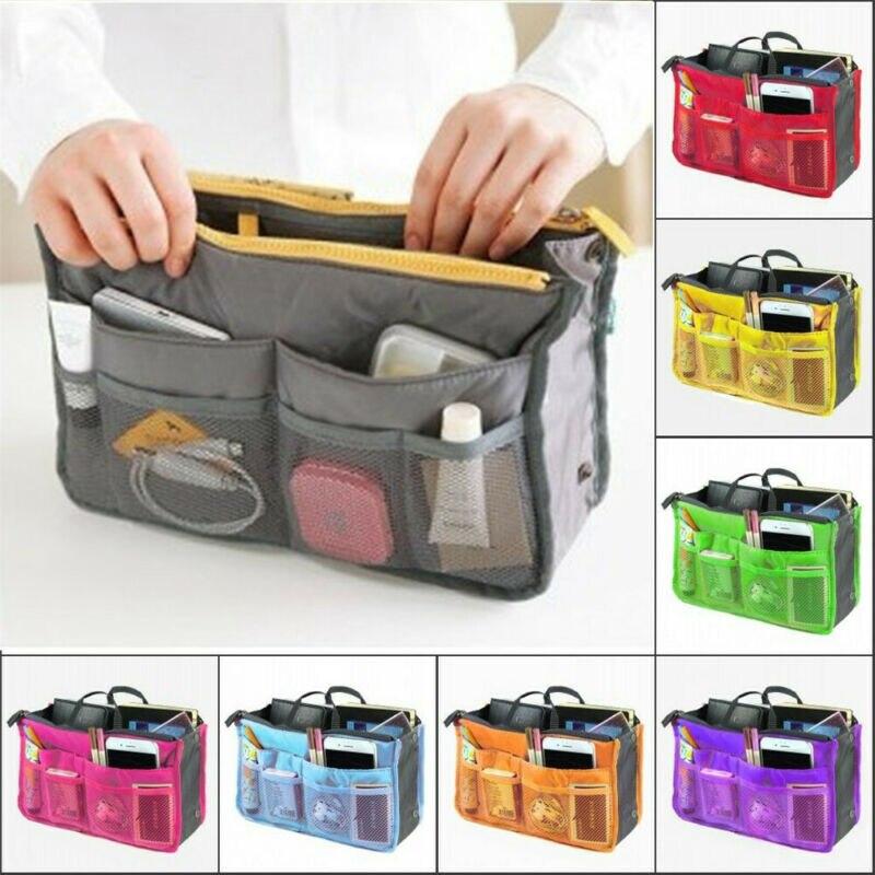 2019 Newest Hot Handbag Organiser Insert Liner Zipper Travel Bag Cosmetic Bags Organizer Large Purse Ladies Cosmetic