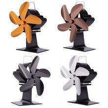 5 Blades Heat Powered Stove Fireplace Fan Fuel Saving Silent Ecofan for Wood Log Burner Heater SF101G