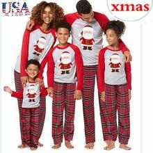 Pudcoco/Комплект рождественских пижам для всей семьи; одежда для сна для взрослых; одежда для сна; футболка с длинными рукавами с Санта-Клаусом; клетчатые штаны; комплект одежды