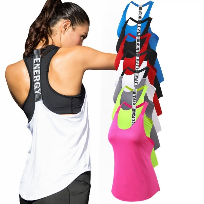 Women Yoga Shirts T-Backless Loose Sleeveless Sports Shirts Fitness Workout Crop Tops Shirt Vest Quick Drying Female Sportswear