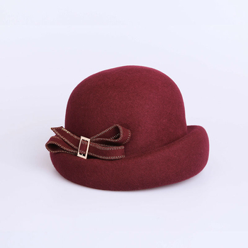 Lady Pure Wool Felt Bowknot Beret Cap Women Autumn And Winter Party Formal Curling Brim Fedora Hat Banquet Grace Fasinator Hats image