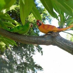 Image 5 - Resina papagaio estátua montado na parede diy árvore do jardim ao ar livre decoração escultura animal para escritório em casa jardim decoração ornamento