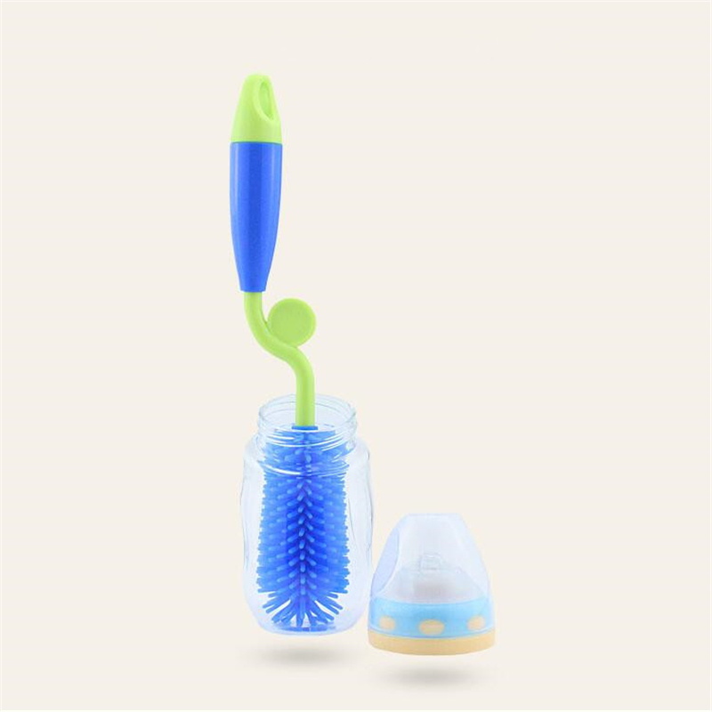 Baby Bottle Brush 360 Rotation Bottlebrush Silicon Baby Milk Feeding Bottle Brush Nipple Cleaning Cup Scrubber Washing Brushes