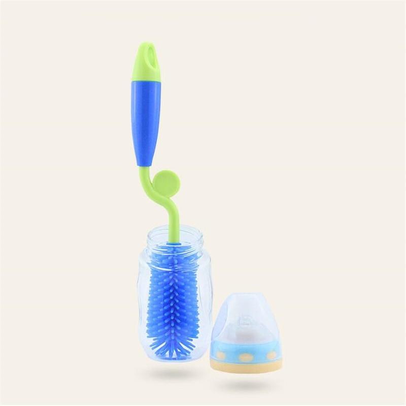 Baby Bottle Brush 360 Rotation Bottlebrush Silicon Baby Milk Feeding Bottle Brush Nipple Cleaning Cup Scrubber Washing Brushes