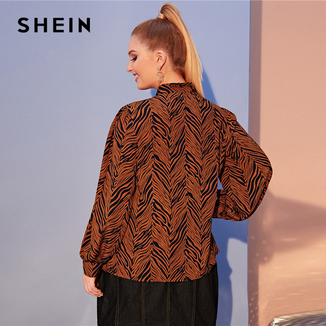 SHEIN Plus Size Multicolor Tiger Skin Print Tie Neck Blouse Top Women Autumn Bishop Sleeve Elegant Office Lady Plus Blouses 3