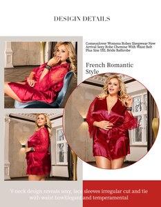 Image 2 - Comeonlover womens robes sleepwear 레이스 새틴 섹시한 conjunto 로브 chemise 허리 벨트 플러스 사이즈 5xl 신부 목욕 가운 re80556