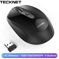 TECKNET Mini Drahtlose Maus 2 4 GHz Einstellbar 2000 1500 1000 DPI Ergonomische Optische Maus Wireless Für Laptop Macbook Computer