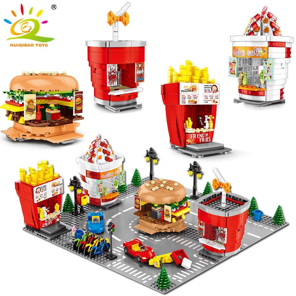 998 pièces Hamburger Frites Boutique Blocs De Construction Legoingly Ville Construction Architecture Street View Crème Glacée Briques Jouets