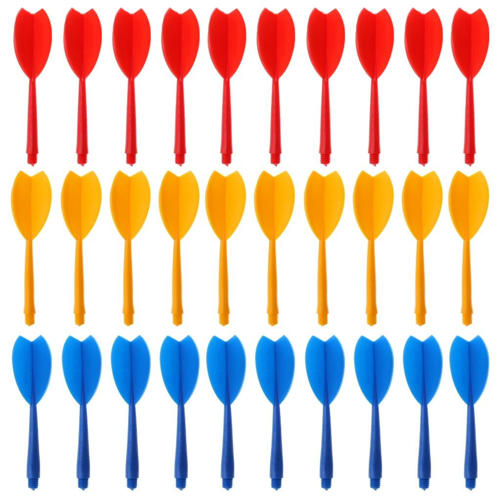 30pcs Multicolor Durable Plastic Darts Shaft & Dart Flight Combo Set Darts Accessories