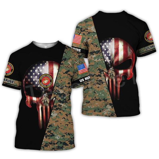 Tessffel America Marine Camo Skull Soldier Army NewFashion Casual 3DPrint Unisex Summer Funny T-Shirt Short Sleeve Men/Women B-2 4