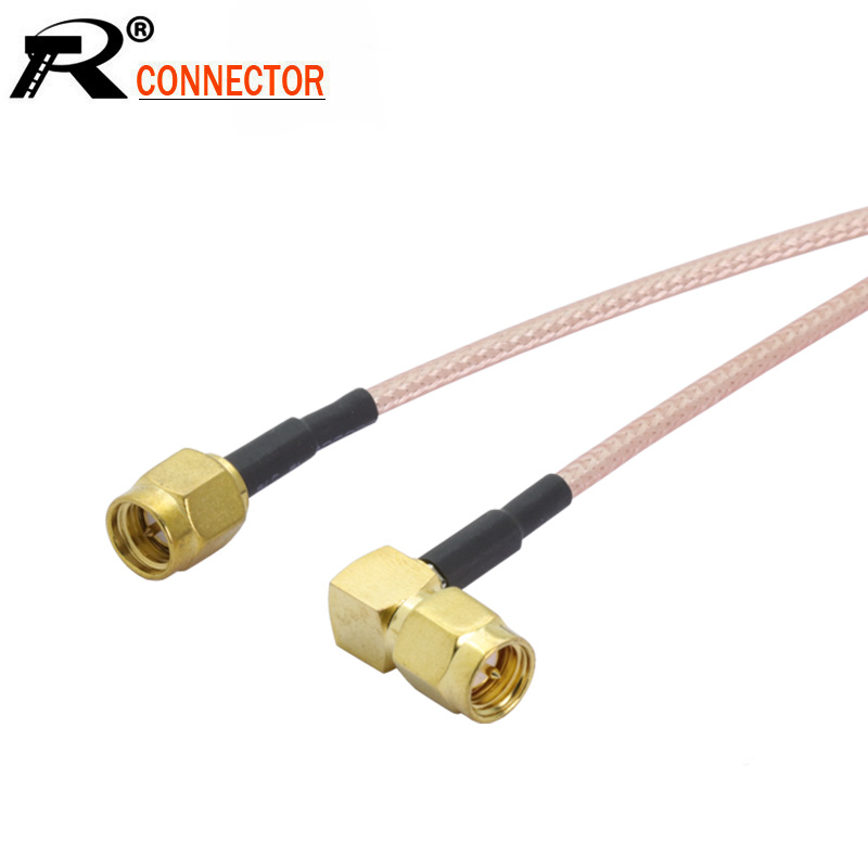 RG58 SMA male right angle 90 degree to SMA female jack pigtail jumper cable lot