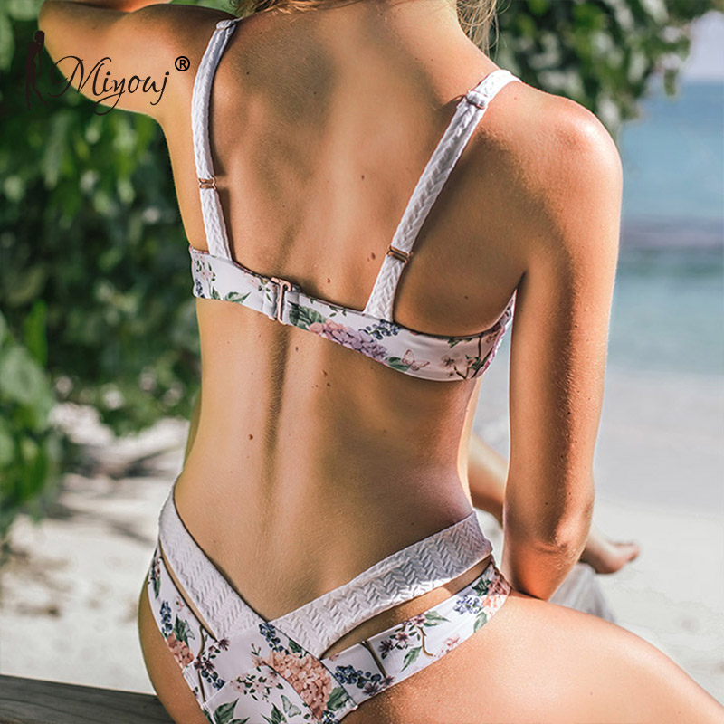 Miyouj Sexy Floral Bikini Push Up Hollow Out Swimsuit Women Biquinis Feminino 2019 Deep V Neck Bathing Suit Low Waist Bikini Set