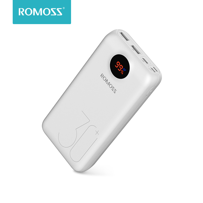 30000mAh 26800mAh ROMOSS SW30 Pro Portable Power Bank Charger External Battery QC3.0 Fast Charging LED Display For Phones Tablet
