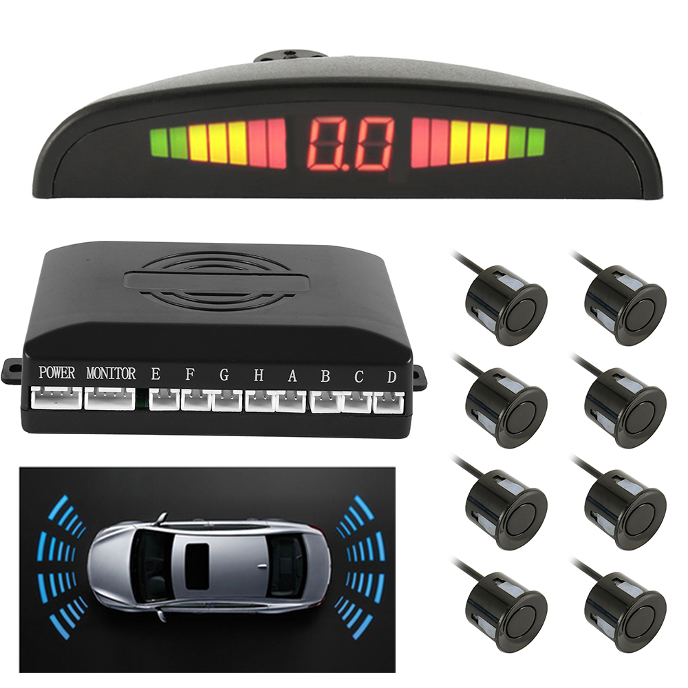 Universal Car Parking Sensor Kit With 4/8 Sensors Display/Buzzer Voice Reverse Radar Monitor Detector Security Alert System
